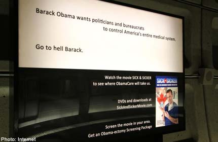 Go to hell Barack': Row over Washington Metro ad
