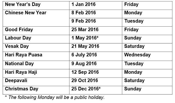 Public Holidays For 2016 2016 | Tech Blog Smartphones Tablets Laptops ...