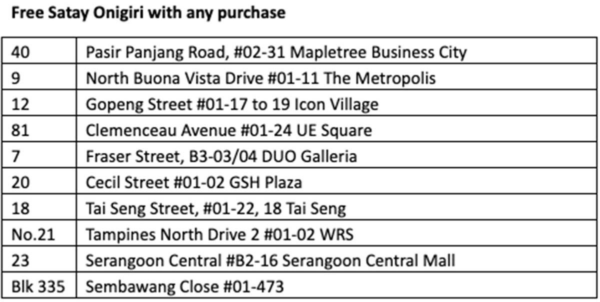 Good deals must share July 8-17: Free satay onigiri and