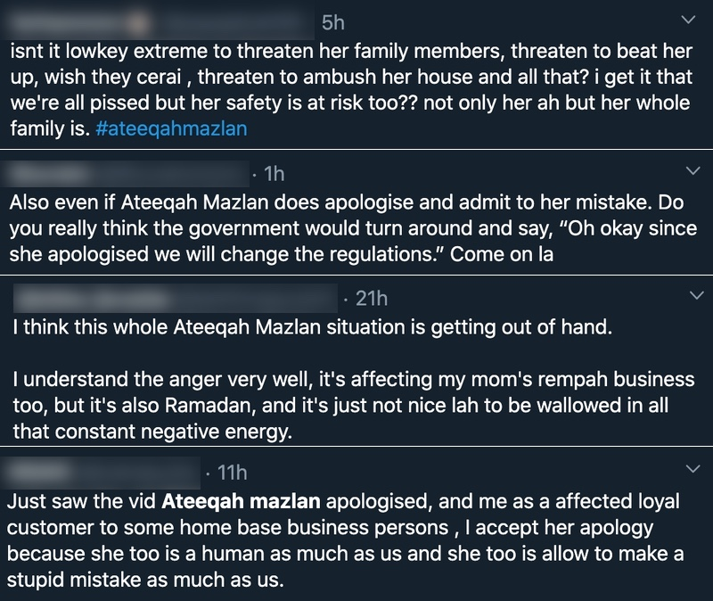 Accused of Causing Home-based Business Ban, Ateeqah Mazlan Apologises