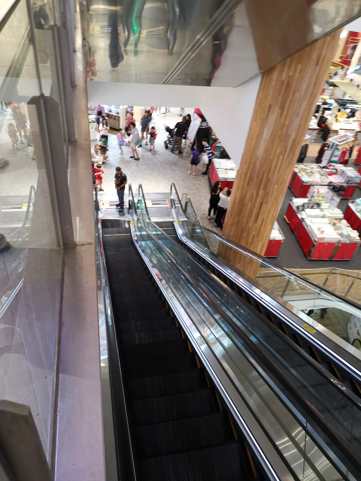 Escalator steps buckle in front of mum and baby at Waterway Point