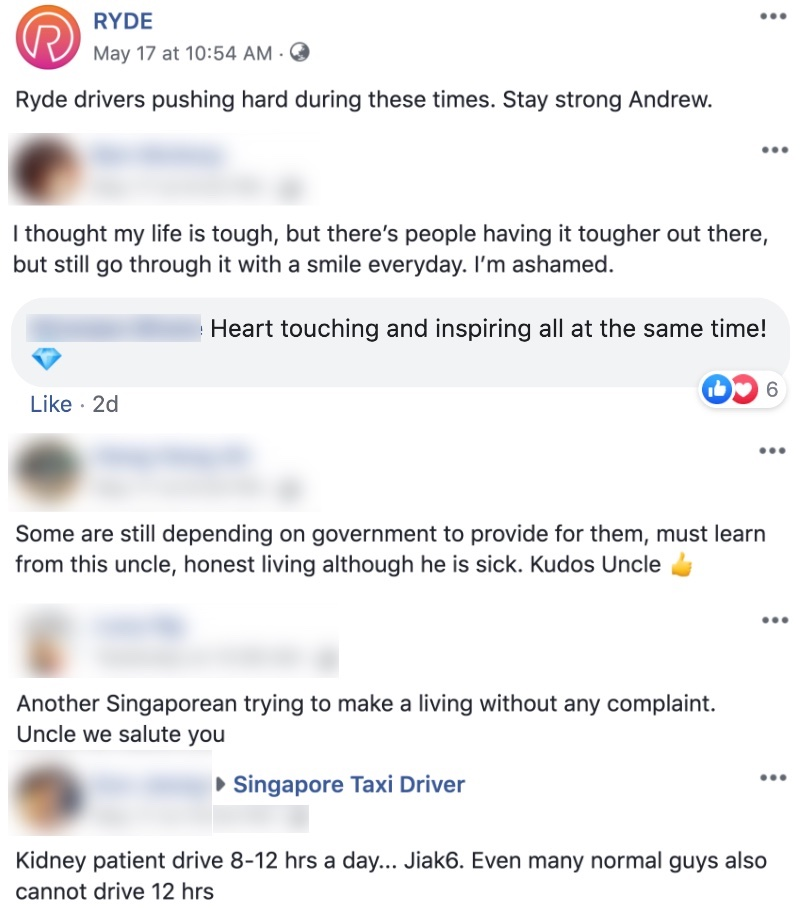 Ryde Driver Who Works Up to 12 Hours a Day Despite Chronic Kidney Failure Inspires Netizens