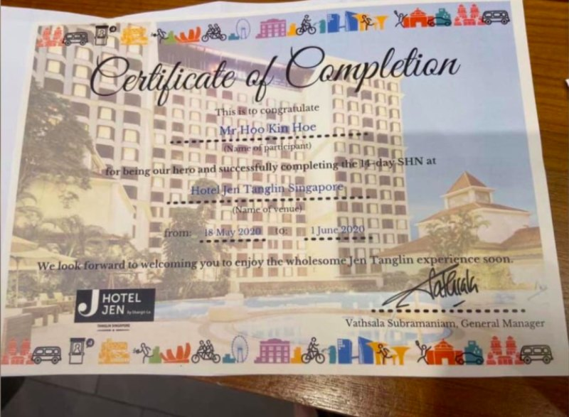 $1.7k Certificate: Singapore PR on Completing SHN at 4-star Hotel