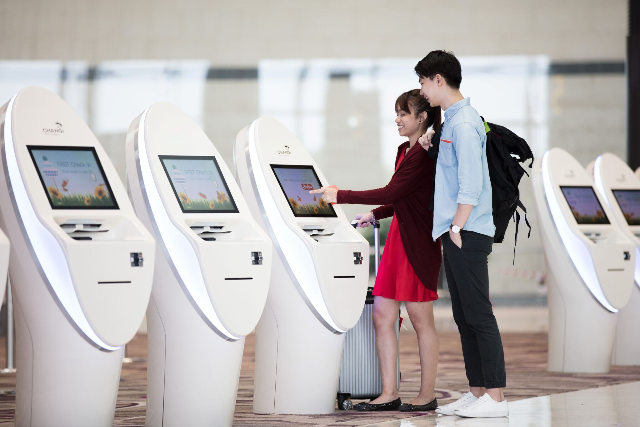 Automated check-in kiosks Photo: Changi Airport Group