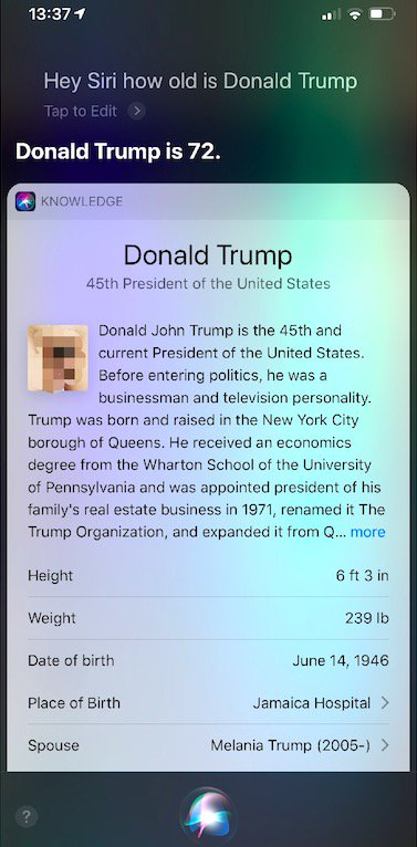 Look: Siri loads penis image in answer to inquiry on Trump age