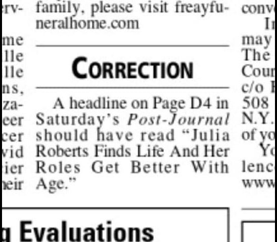 Newspaper makes world's most unfortunate typo in Julia Roberts profile