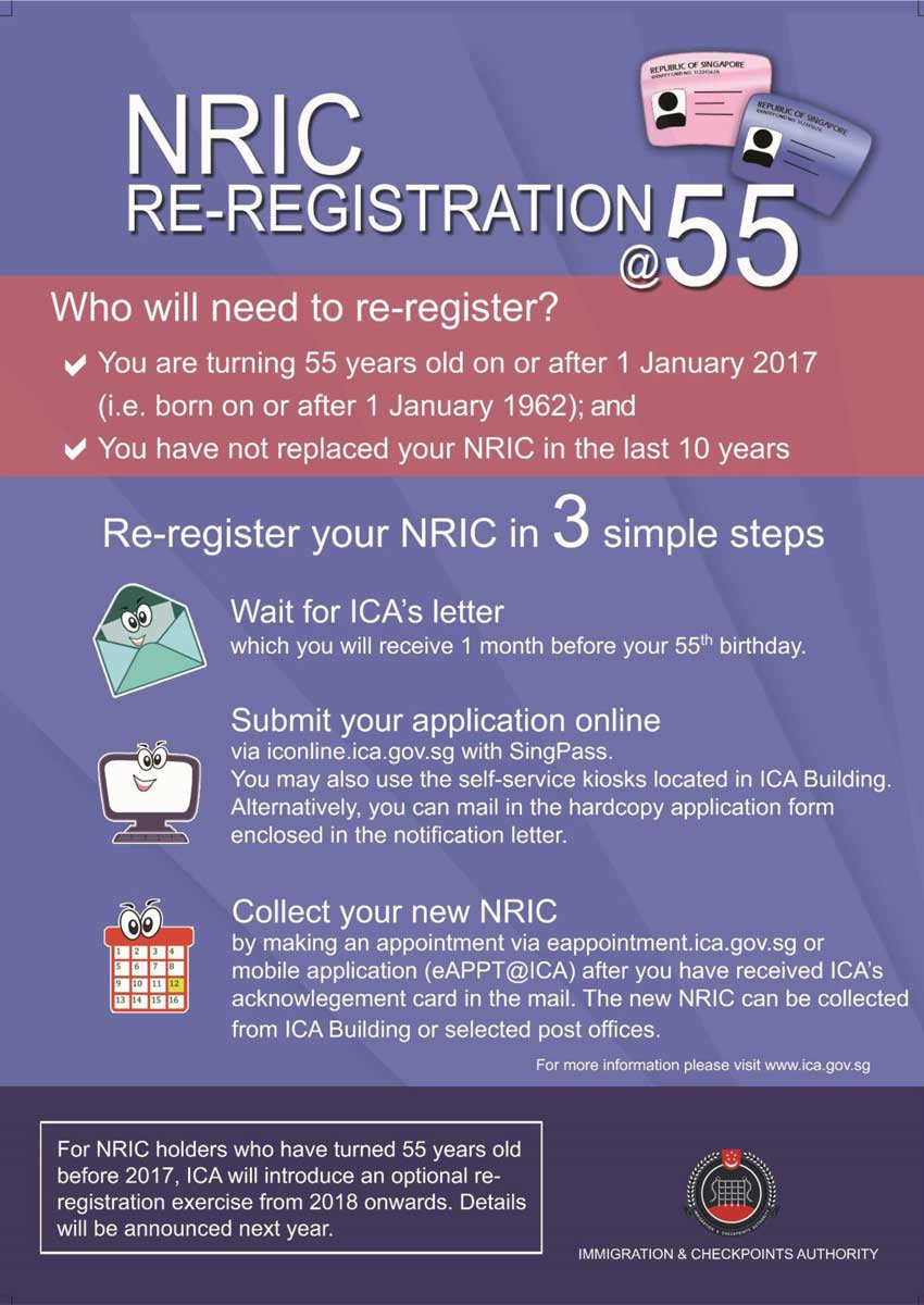 Compulsory NRIC re-registration for citizens and PRs turning 55 ...