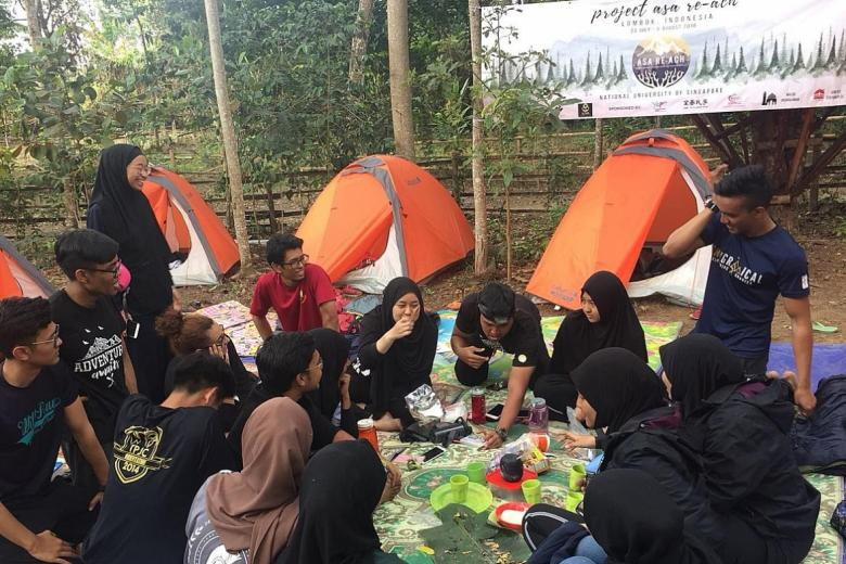The students camped at an open area in Sembalun in north-east Lombok after the quake on Sunday