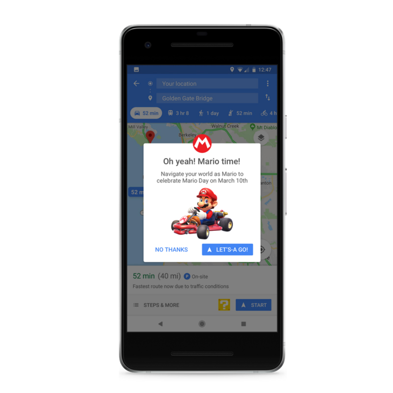 Mario hops on for a ride in Google Maps