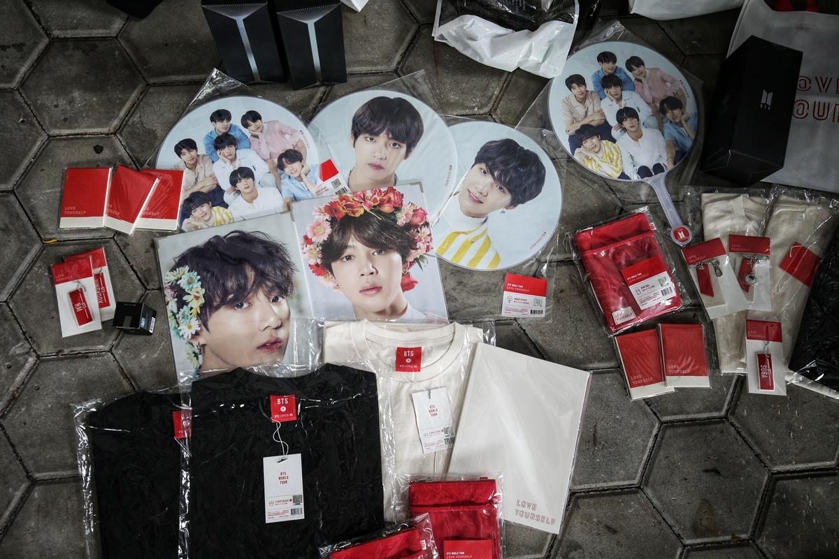 Fans of K-pop boyband BTS Go Go for merchandise