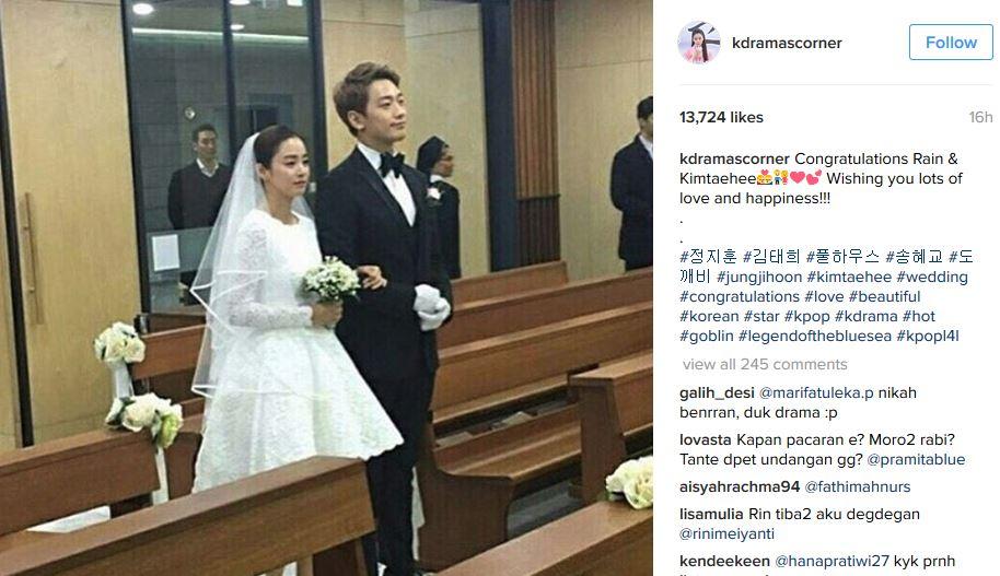 Korean Stars Rain And Kim Tae Hee Tie Knot In Modest Church Wedding