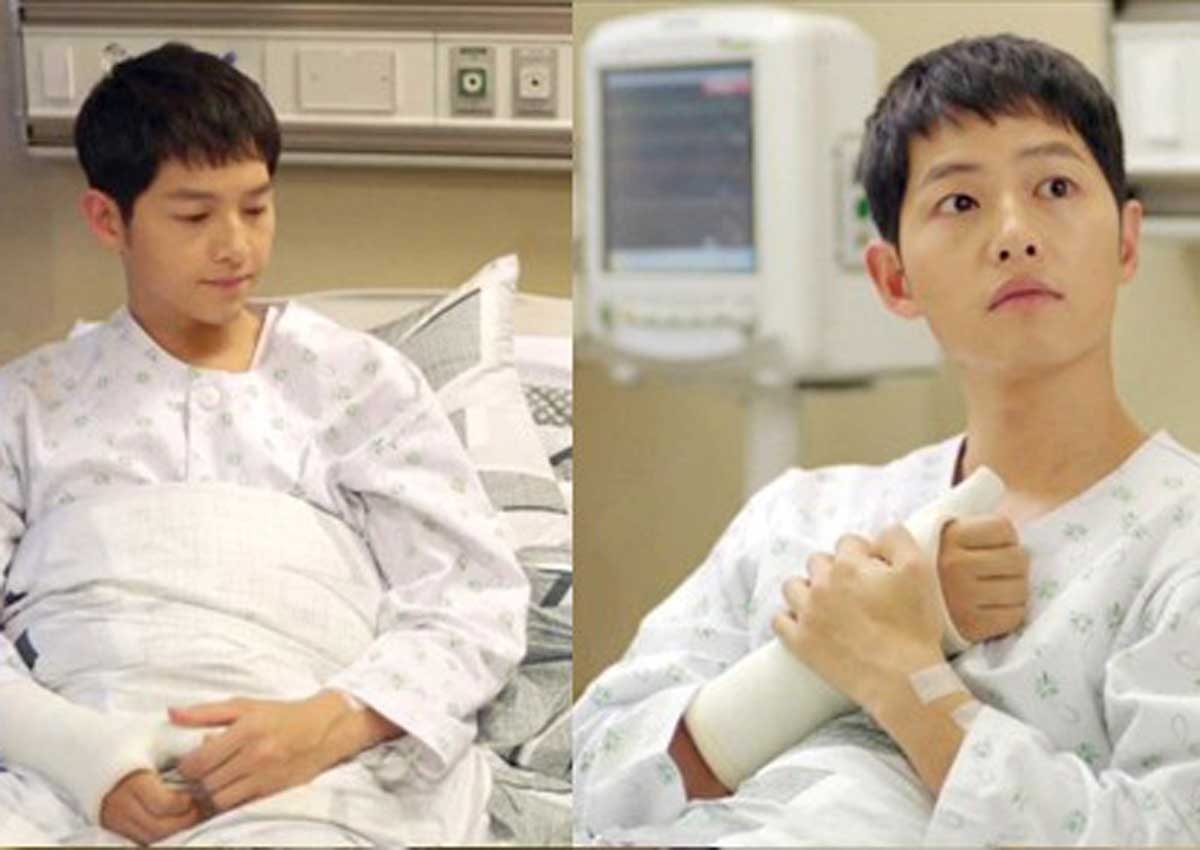 Song Joong Kis Arm Cast In Descendants Of The Sun Real Entertainment News