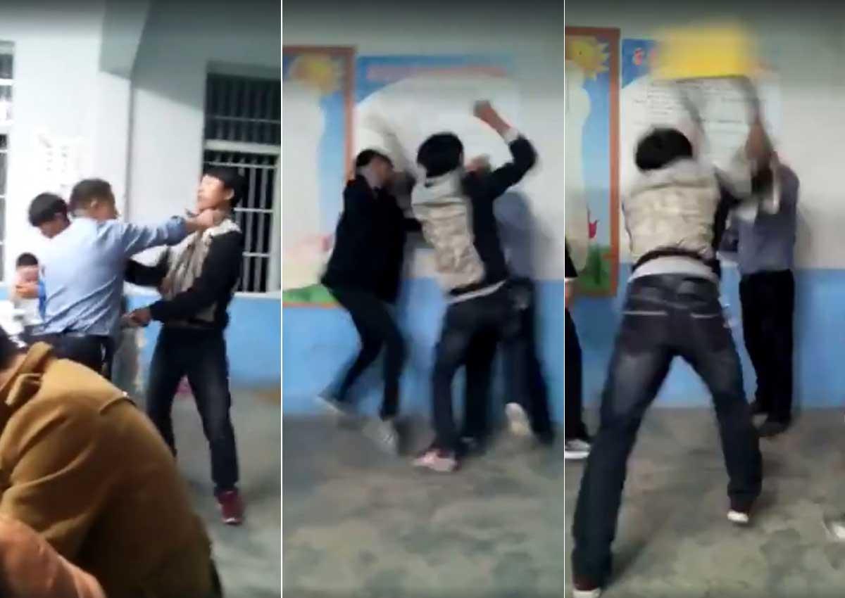 Children scream in terror as teacher appears to beat them