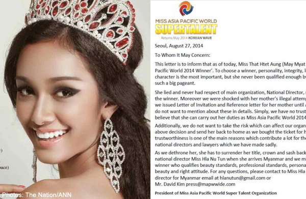 Miss Myanmar stripped of Miss Asia Pacific World title, Women, Asia