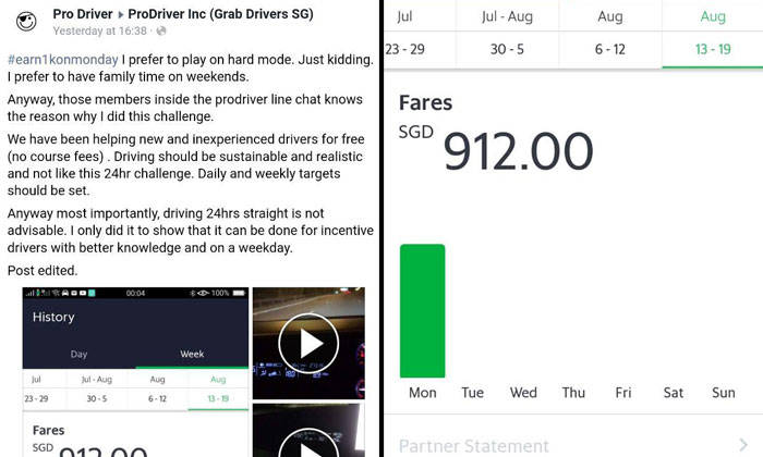 Grab driver claims to earn $912 in 1 day by driving for 24
