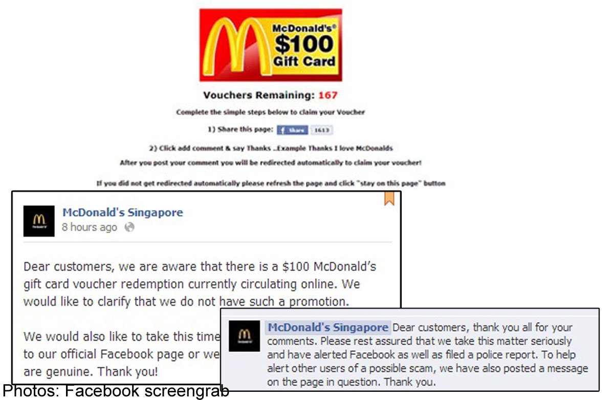 McDonald's Singapore files police report over fake gift card voucher
