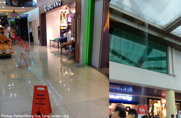 Shoppers report flooding in Tampines Mall after heavy