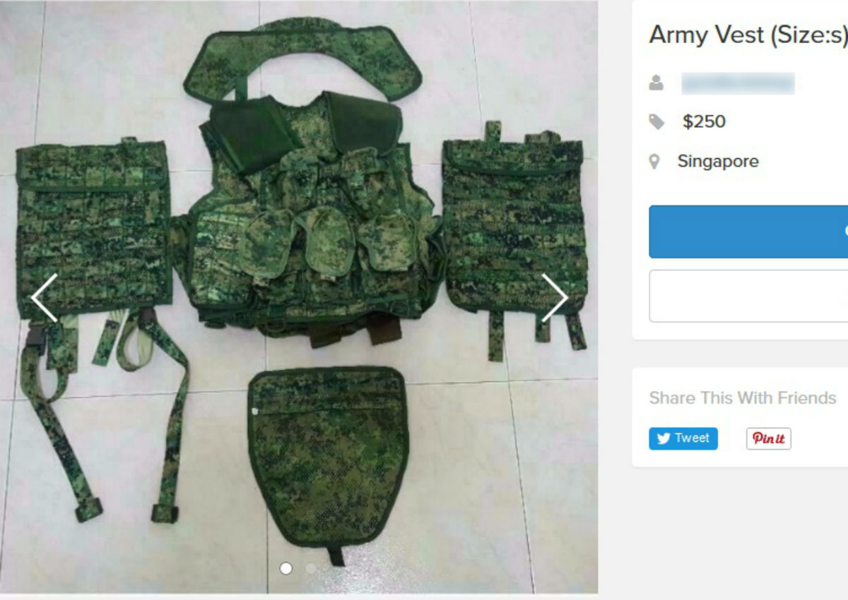 15b72fad7e26f Army 'downgrader' lists vest, field pack for $250 on Carousell ...