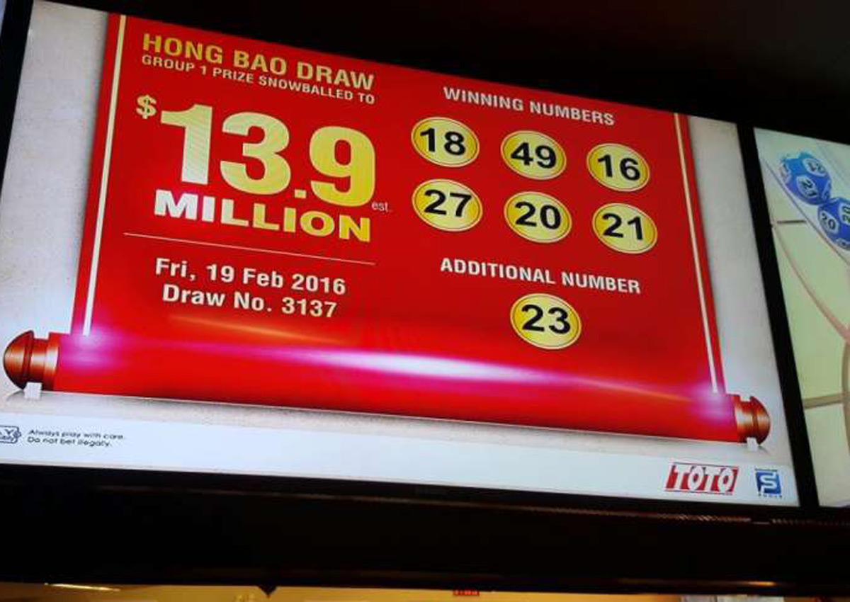 2 winners share $13.9m Toto Hongbao jackpot; winning numbers are 16 ...