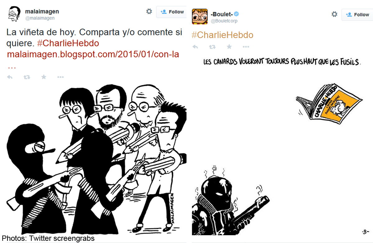 Cartoonists put pen to paper in solidarity with Charlie