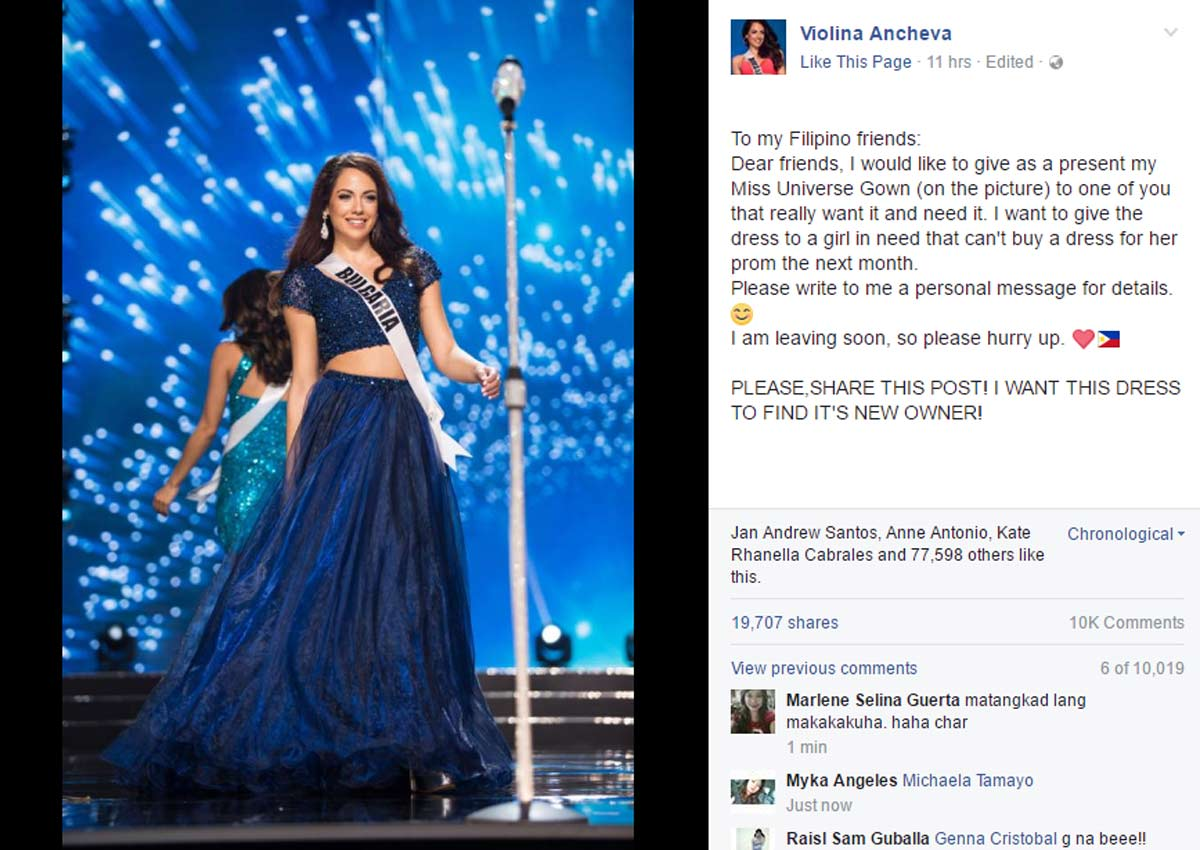 Miss Bulgaria offers gown to Filipina who can't afford prom