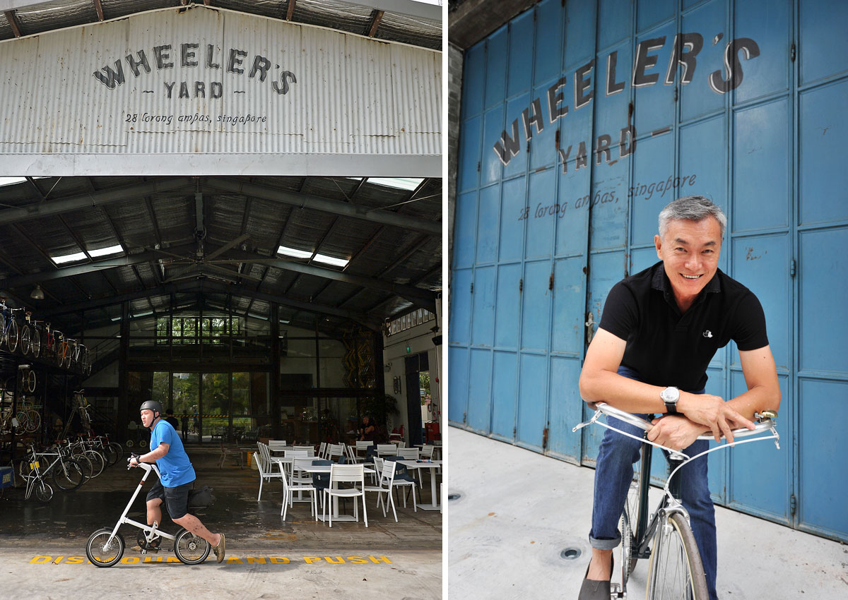 He turned his family's warehouse into Singapore's first bike cafe