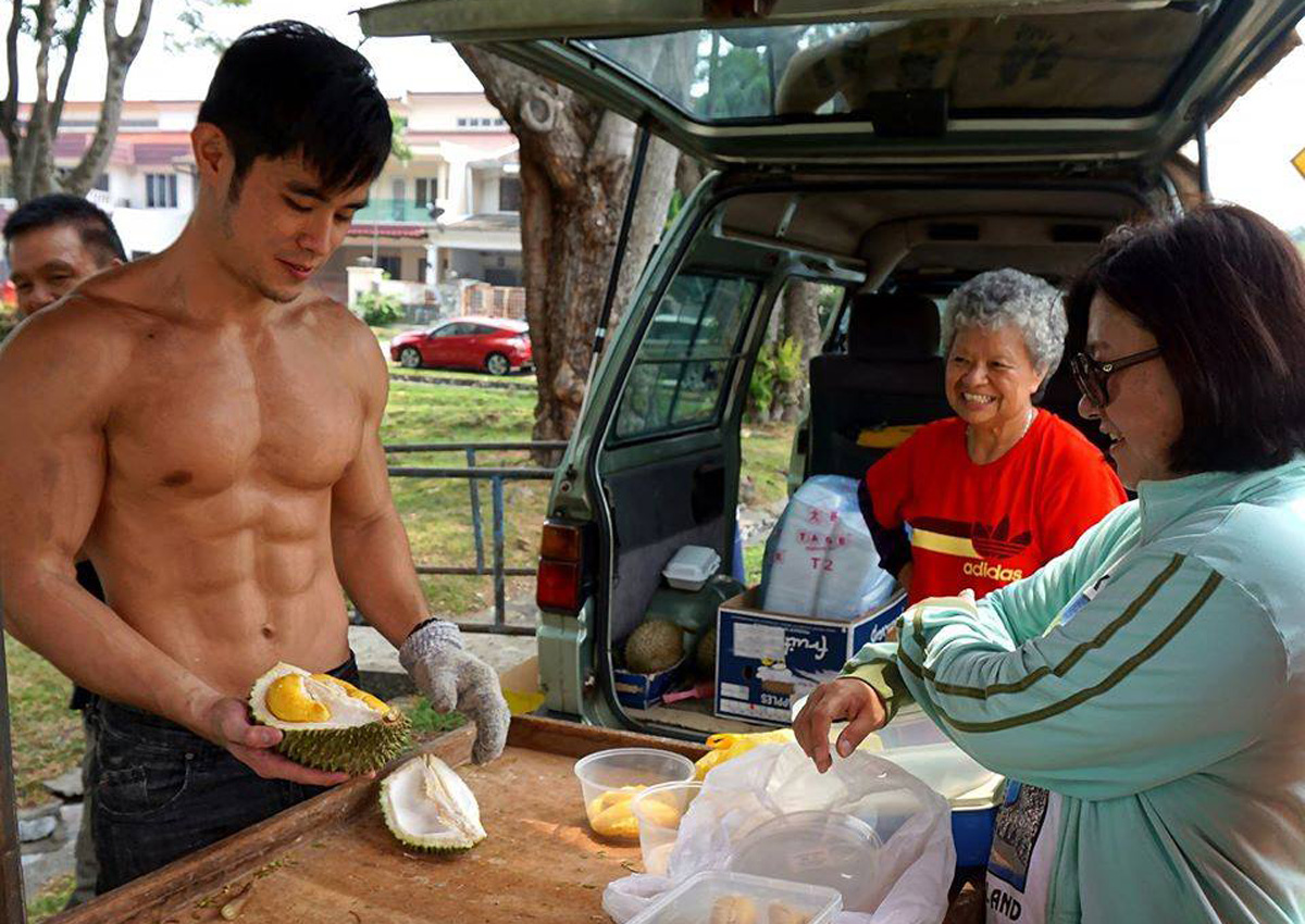Spotted: Hunky Malaysian model selling durians , Malaysia