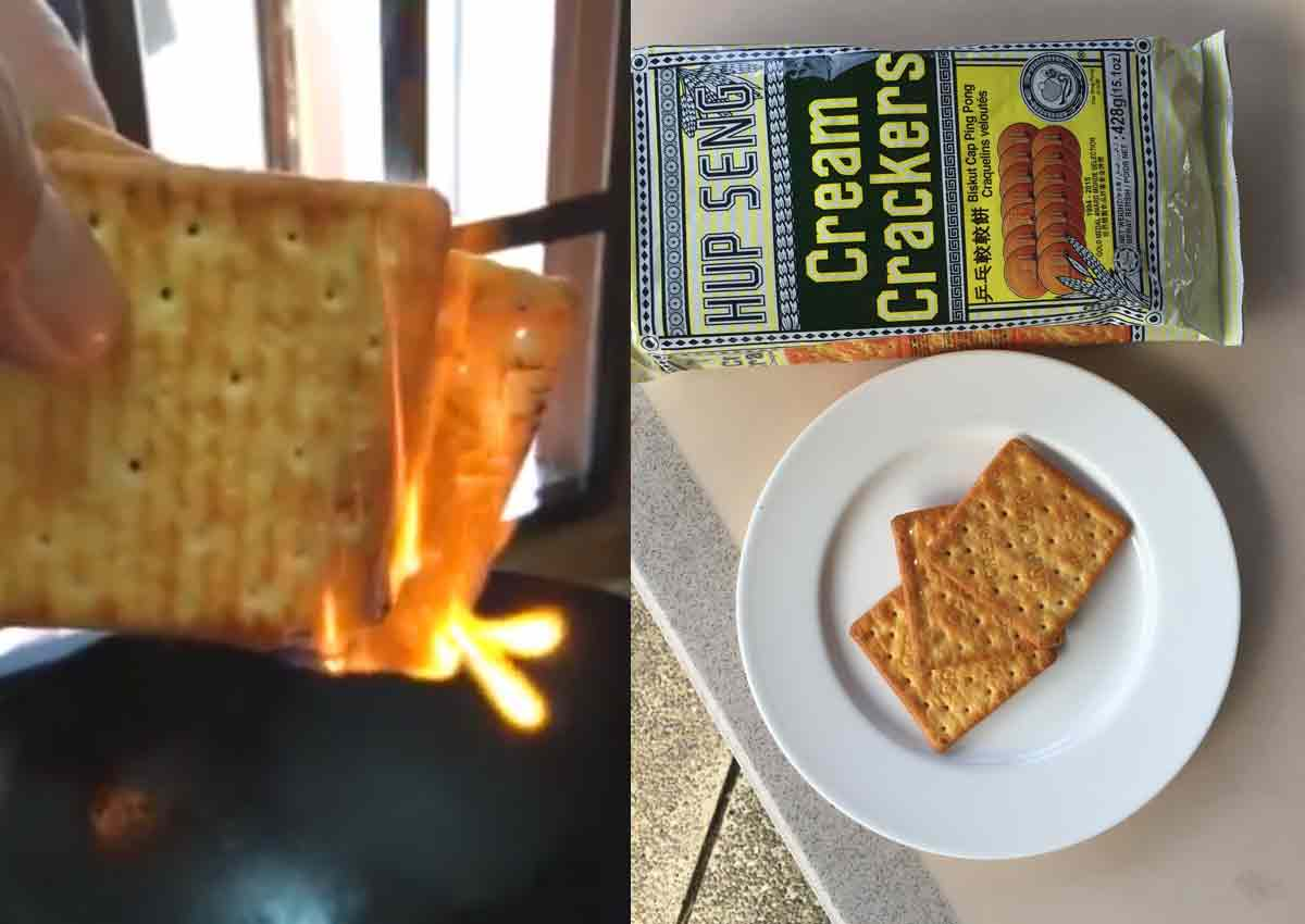 Claim that cream crackers contain flammable plastic gets