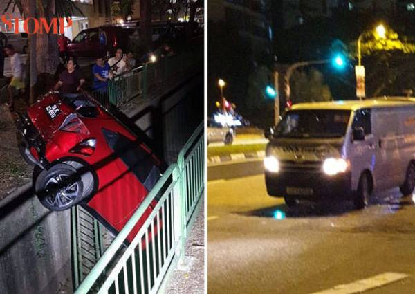 Car Crashes Into Drain After Collision With Van At Yishun 2 Taken