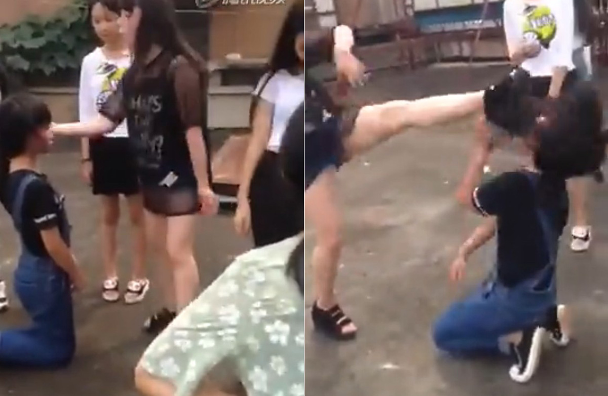 asian girl beats up guy