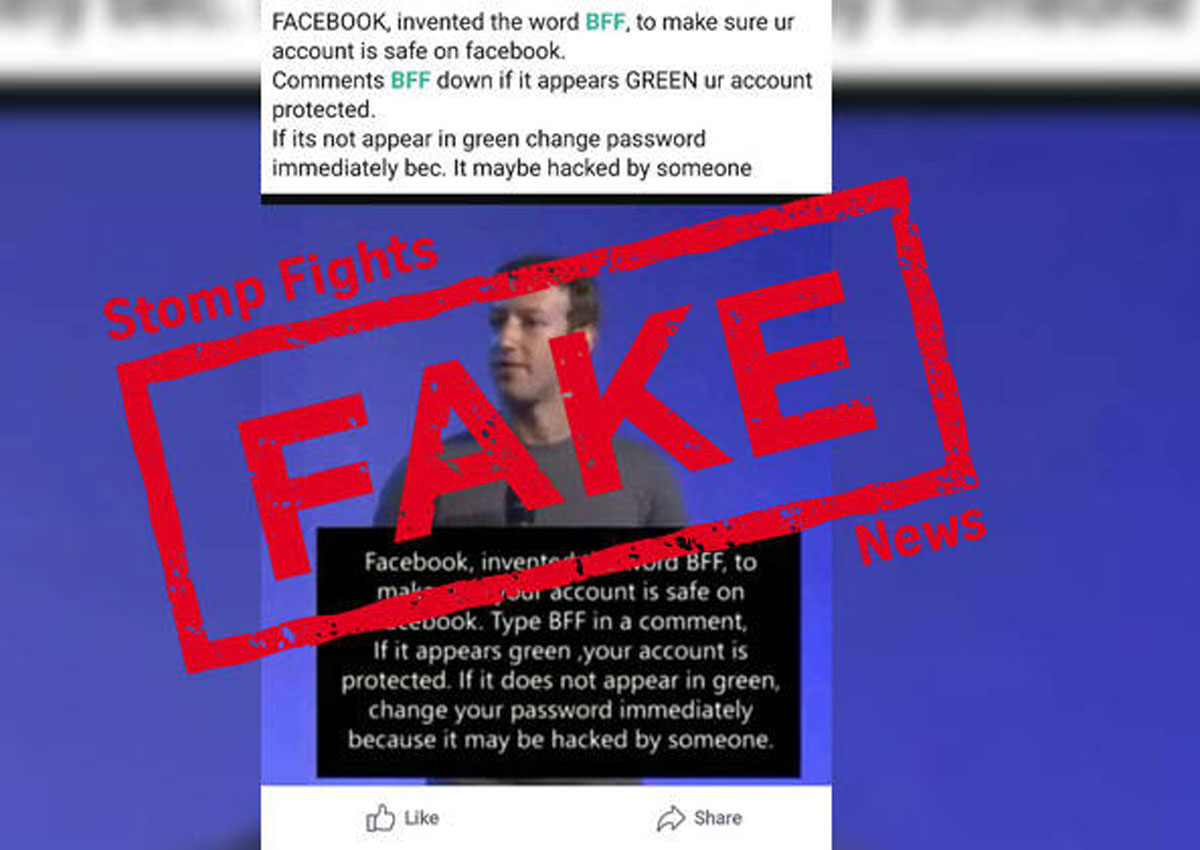 Green BFF 'security test' on Facebook is fake news