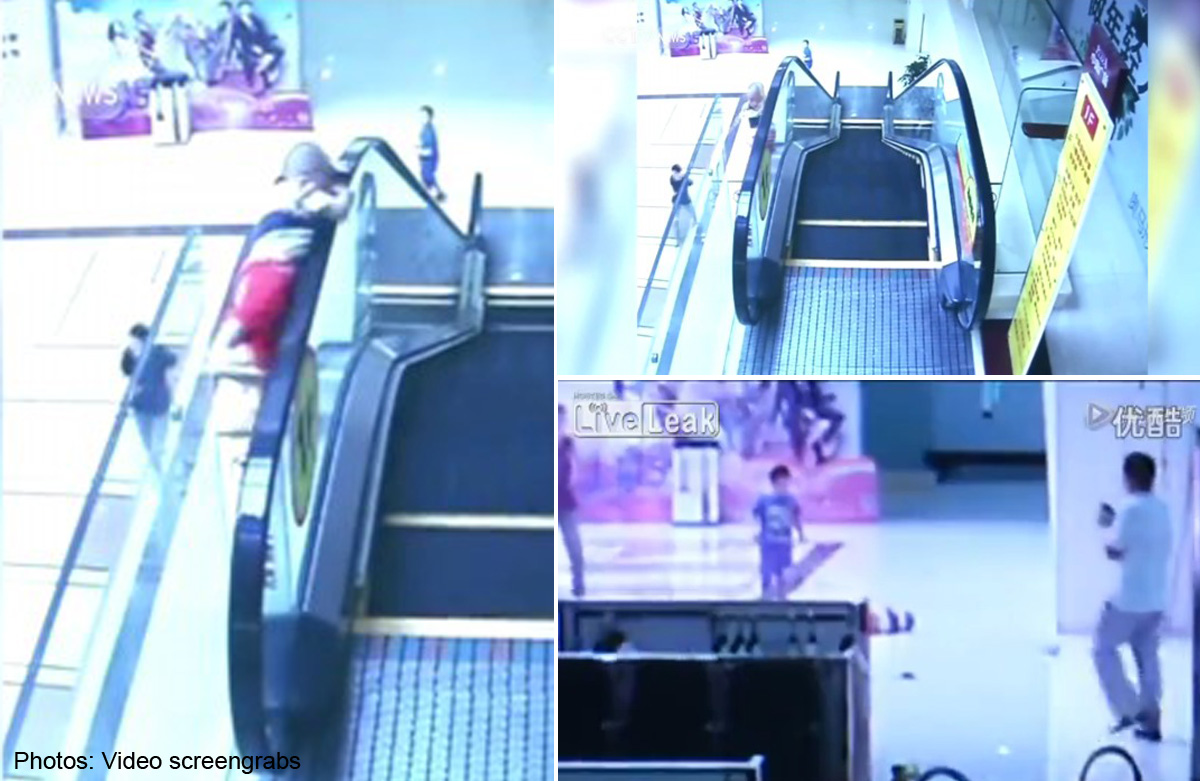 2-year-old boy falls from escalator in Guangdong, Asia News