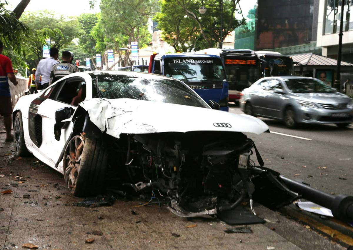 Car Accident Yesterday >> Audi R8 crash is 1 of 4 accidents in less than 24 hours this week, Singapore News - AsiaOne