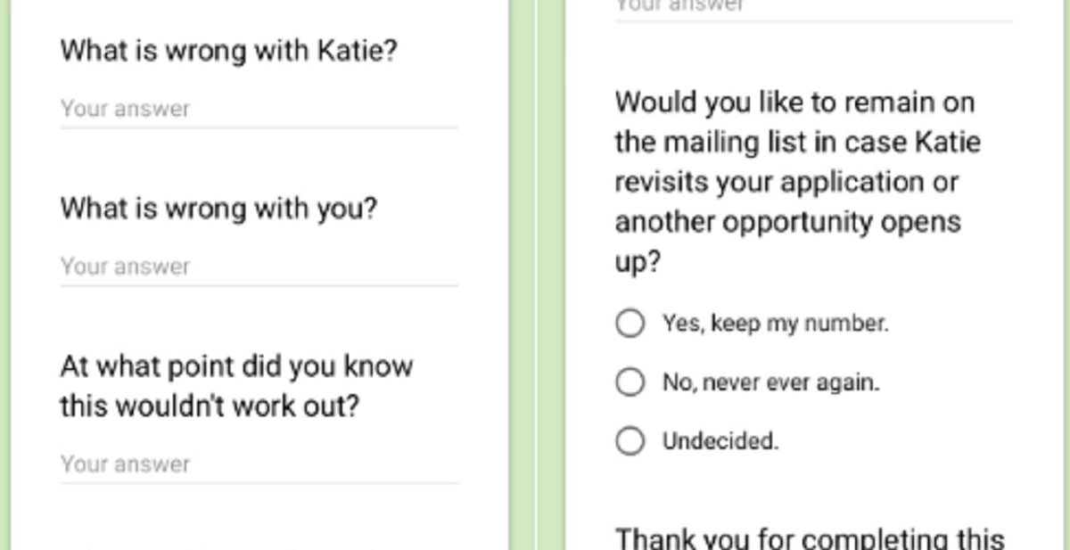 Woman sends 'exit survey' to her ex-boyfriends, World News