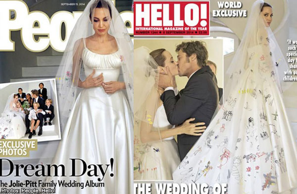 Angelina Jolie\'s one-of-a-kind wedding dress revealed , Women ...