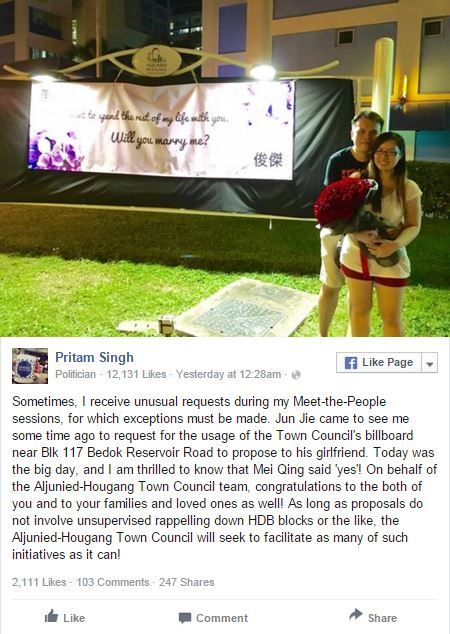 Bedok resident pulls off marriage proposal with the help of