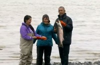 Obama's Arctic adventure ends with sinking village, fish spawn