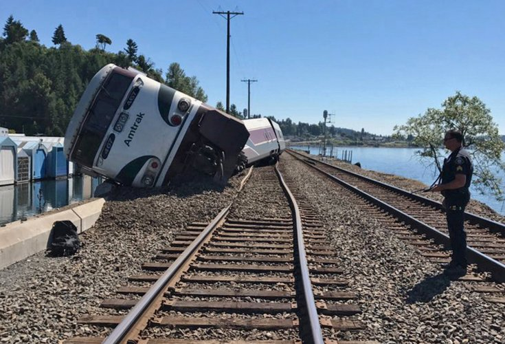 Crews working to clear derailed Amtrak train near Chambers Bay