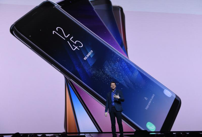 8c2ef89e34da6c DJ Koh Samsung President Mobile Communications Business introduces the new Samsung  S8 and S8 Plus during a new conference on March 29, 2017 in New York.
