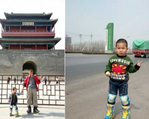 Dad takes 4-year-old son rollerblading, 540 km to Beijing, to teach him that life is hard