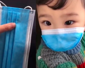 Here's how to quickly modify an adult-sized disposable face mask to fit your kid