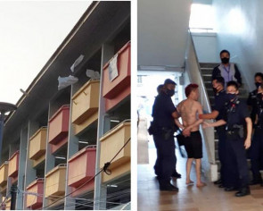 Man arrested after throwing items, including chairs, from HDB block in Yishun