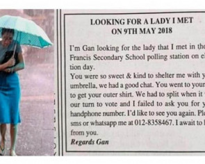 Malaysian man looking for 'umbrella lady' he met at the May 9 polls