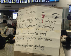 Hong Kong airport protesters apologise for disruption, 'overreaction'