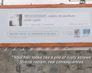 Racist comments online placed on billboards
