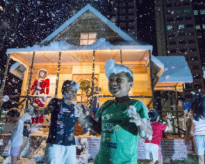 Woodlands Santa is walking in a winter wonderland with neighbours