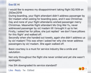 SIA stewardess publicly rebuts passenger who named and shamed her