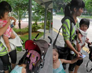 Big struggle to haul kids and pram up crowded bus
