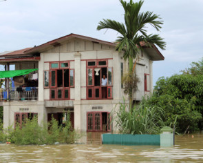 Monsoon flooding forces thousands from their homes in Myanmar