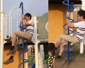 Mind blown: Guy demonstrates the proper way to use this Singapore playground staple